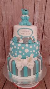 Turquise, Grey & White Baby Shower Cake