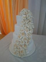 Cascading Sugar Rose Wedding Cake