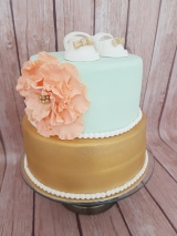 Mint green, Peach and gold baby shower cake