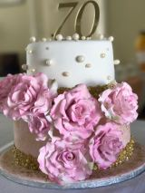 Dusty Pink and Gold 70th Cake