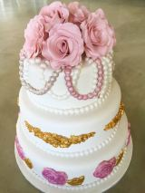 Dusty Pink, Gold and Pearl Wedding Cake